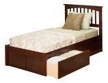 Atlantic Mission Bed with Flat Panel Footboard and Two Sets of Urban Bed Drawers