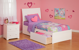Atlantic Portland with Flat Panel Footboard and Two Sets of Urban Bed Drawers