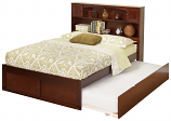 Atlantic Newport Bookcase Bed with a Flat Panel Foot Board and Urban Trundle Bed