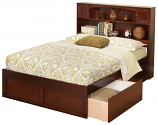 Atlantic Newport Bookcase Bed with a Flat Panel Foot Board and Urban Bed Drawers